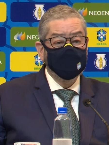 Rogério Caboclo, presidente da CBF, em anúncio de novo patrocinador da seleção - Reprodução