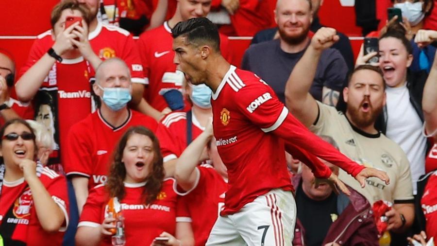 Cristiano Ronaldo vibra após marcar 1° gol do duelo entre Manchester United e Newcastle - Phil Noble/Reuters