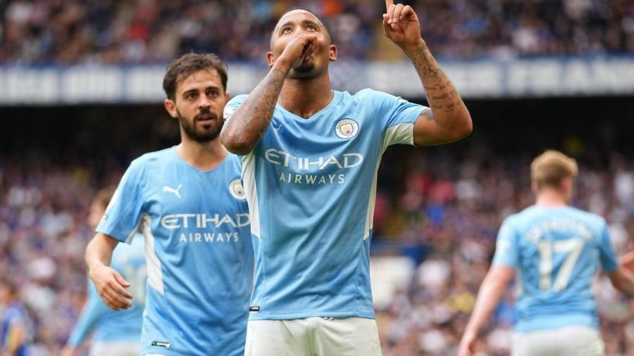 Gabriel Jesus comemora gol pelo Manchester City e anuncia paternidade - GettyImages