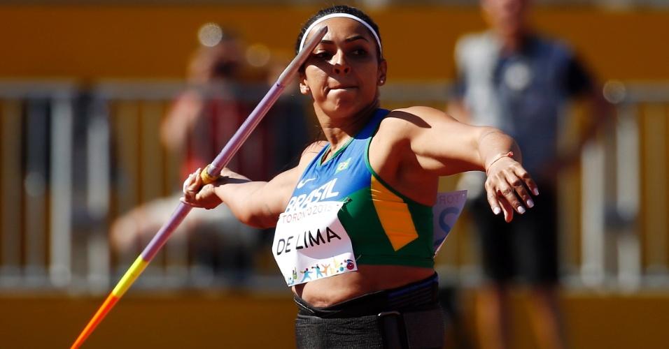 Jucilene de Lima durante a participação no lançamento de dardo. Brasileira terminou na terceira colocação e levou o bronze
