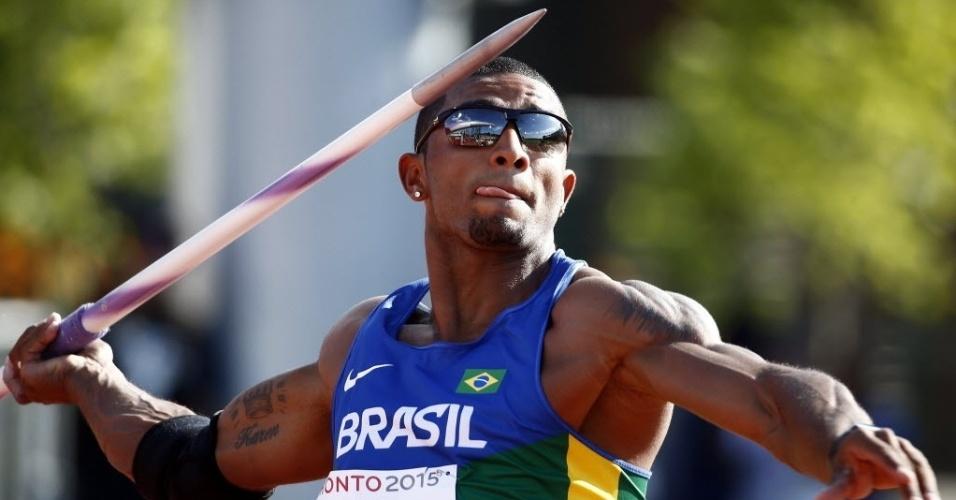 Decatleta Felipe dos Santos no arremesso de dardo dos Jogos Pan-Americanos