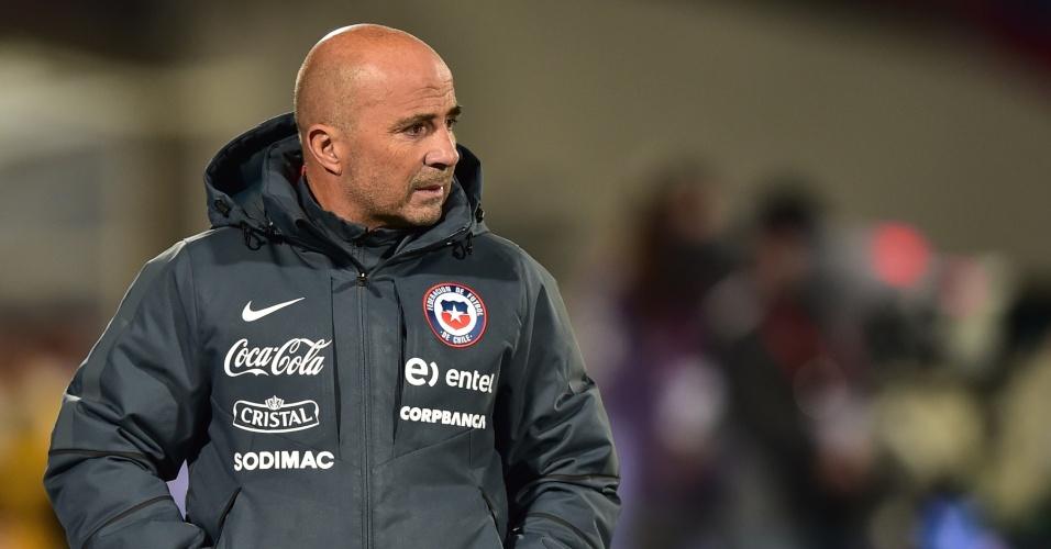 Jorge Sampaoli, técnico do Chile durante partida entre Chile e Brasil pelas Eliminatórias Sul-americanas