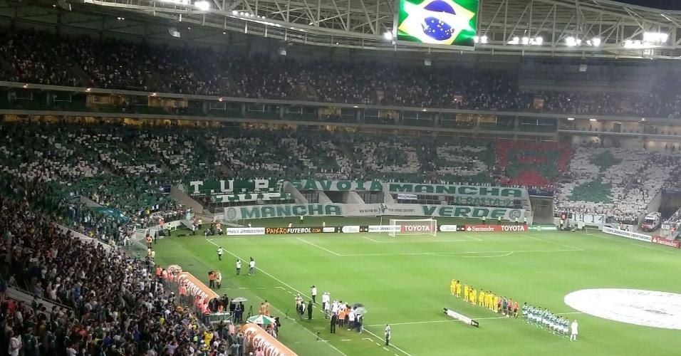 """Torcida do Palmeiras faz mosaico de apoio ao time: """"Queremos a Libertadores"""""""
