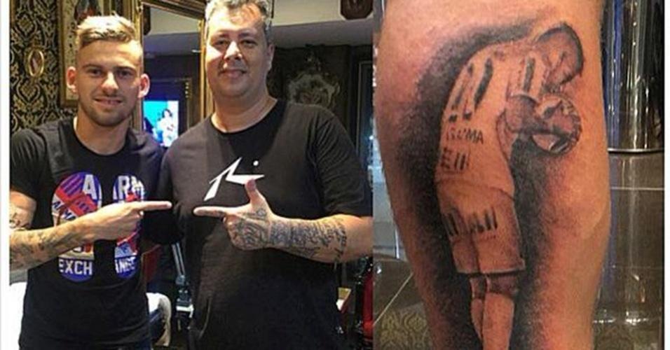 2. LUCAS LIMA - O meia tatuou o momento em que ajeita a bola para bater o pênalti que deu o título paulista ao Santos contra o Palmeiras
