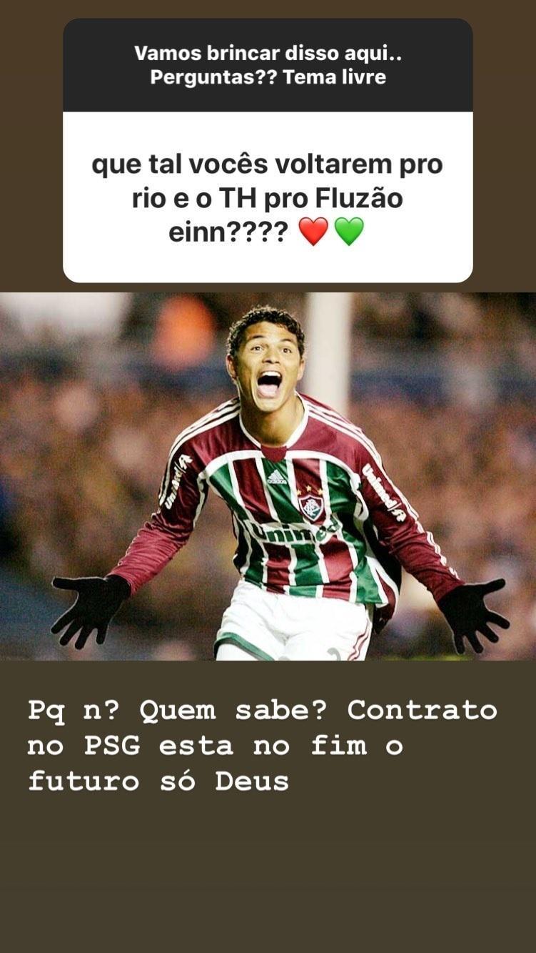 Belle fala sobre possibilidade de Thiago Silva voltar ao Fluminense