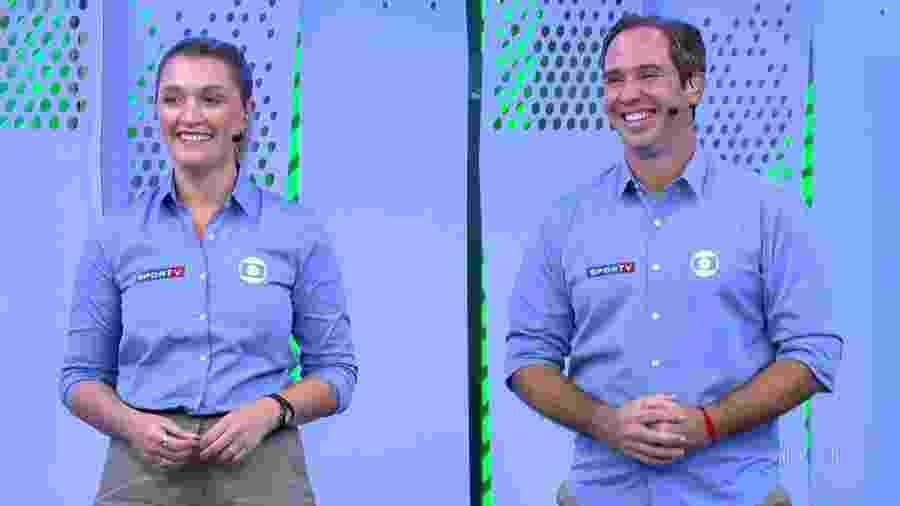 Ana Thaís Matos e Caio Ribeiro na transmissão de Santos x Athletico-PR na Globo - Reprodução/TV Globo