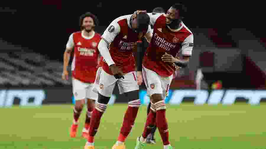 Nicolas Pepe comemora gol do Arsenal contra o Dundalk, pela Liga Europa - UEFA via Getty Images