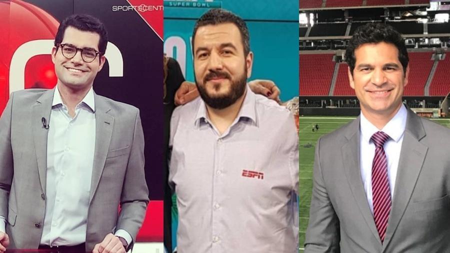 Antony Curti, Eduardo Zolin e Paulo Antunes: comentaristas de NFL renovam contrato com a ESPN - Reprodução/ESPN