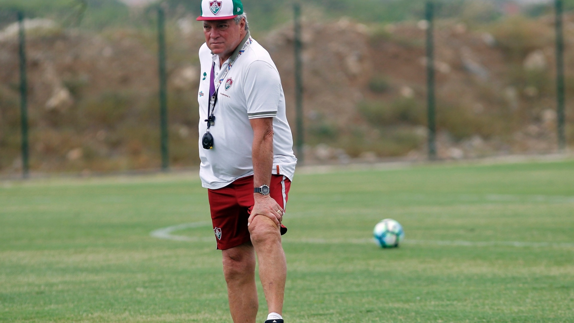 Abel durante treino do Fluminense