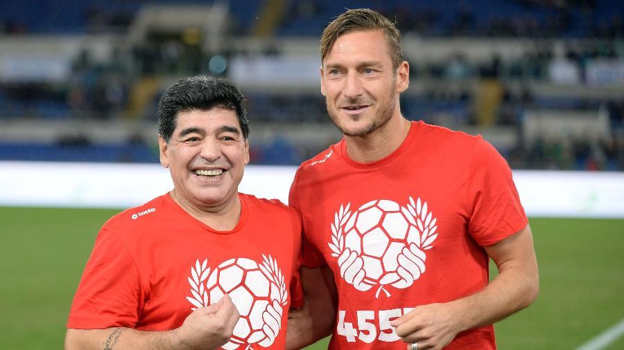 Diego Maradona rasgou elogios a Francesco Totti - Xinhua/Italy Photo Press/ZUMAPRESS