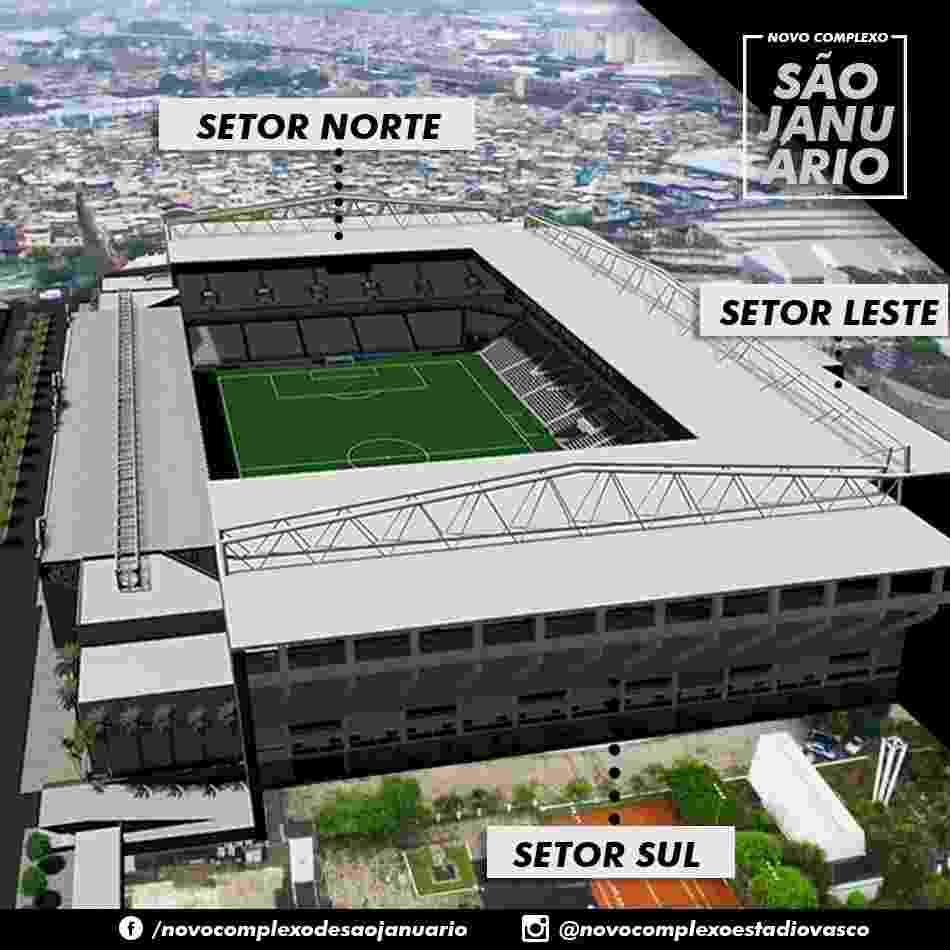 Visão aérea do projeto de modernização de São Januário - Divulgação