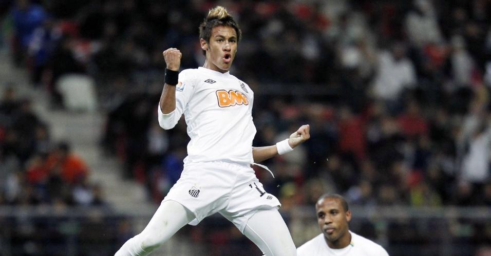 Neymar comemora gol marcado contra o Kashiwa Reysol, na semifinal do Mundial de Clubes de 2011