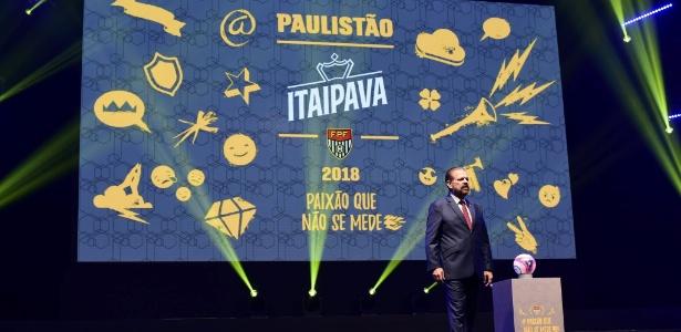 Reinaldo Carneiro Bastos, presidente da FPF, discursou na festa