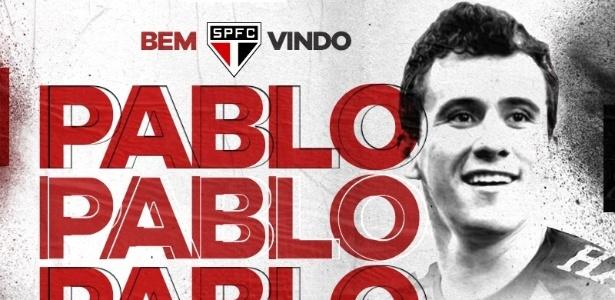 São Paulo apresentou a contratação do atacante Pablo, que assina vínculo de quatro anos - divulgação/São Paulo FC