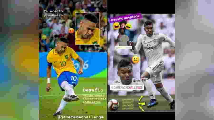 Neymar e Casemiro entram em desafio de caretas no futebol - reprodução/Instagram