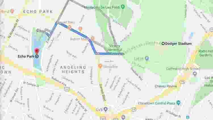 Mapa de Los Angeles mostra a distância do estádio dos Dodgers para a antena telefônica que salvou Catalan - Reprodução/Google Maps