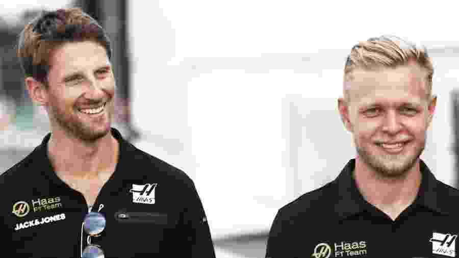 Romain Grosjean e Kevin Magnussen, pilotos da Haas - Reprodução/Twitter