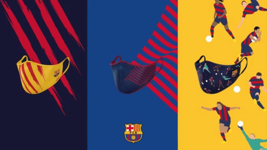 Modelos de máscaras lançadas pelo Barcelona - Reprodução / Twitter