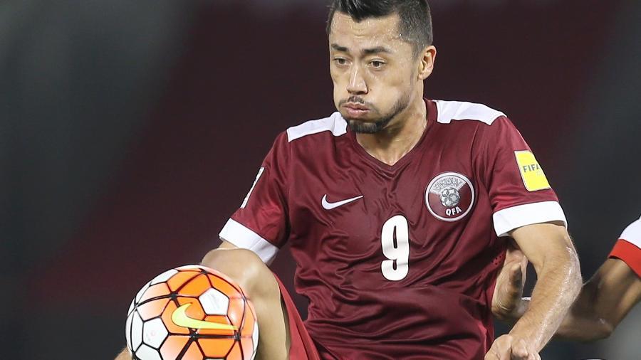 Rodrigo Tabata em ação pela seleção do Qatar, país-sede da Copa-2022 - Karim Jaafar/AFP