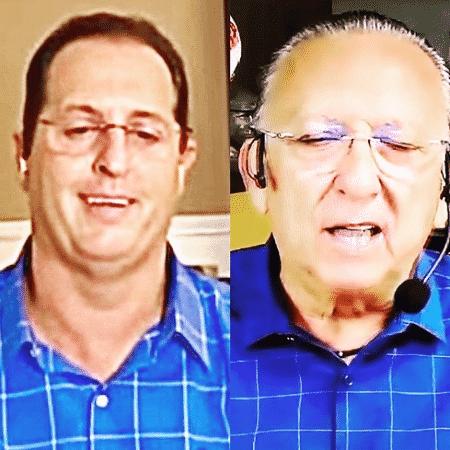 Benjamin Back e Galvão Bueno escolheram camisas parecidas no Fox Sports e no SporTV na última segunda-feira (16/11) - Reprodução/Instagram