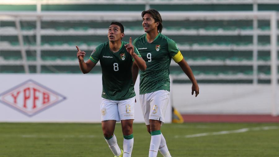 Jogadores da Bolívia comemoram gol marcado - Pool/Getty Images