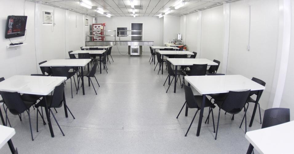 Parte do refeitório do centro de treinamento do Flamengo