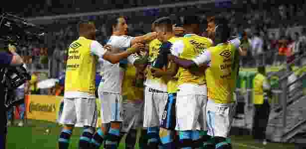 Jogadores do Grêmio comemoram gol contra o Atlético-MG em final - Lucas Uebel/Grêmio - Lucas Uebel/Grêmio