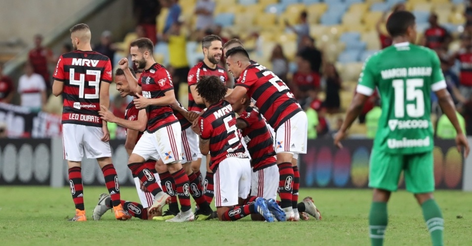Jogadores do Flamengo comemoram após gol de Diego sobre a Chapecoense