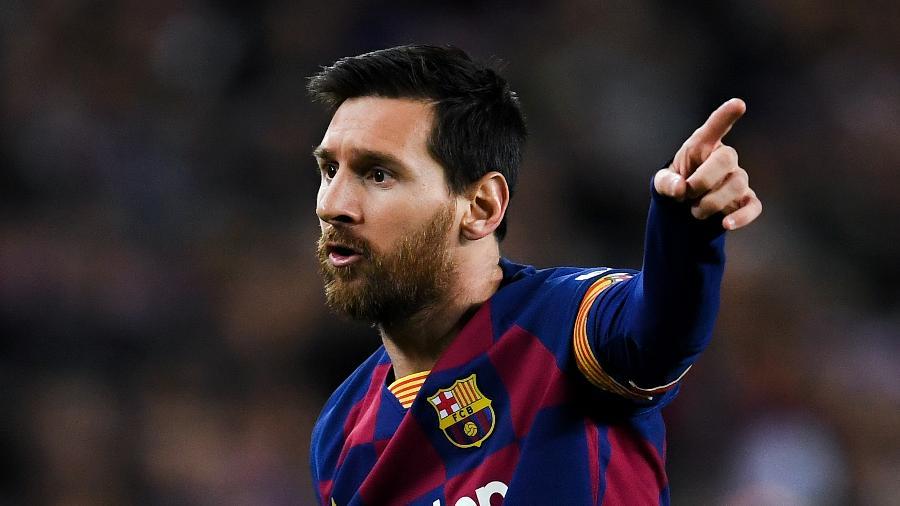 Lionel Messi, durante jogo do Barcelona - David Ramos/Getty Images