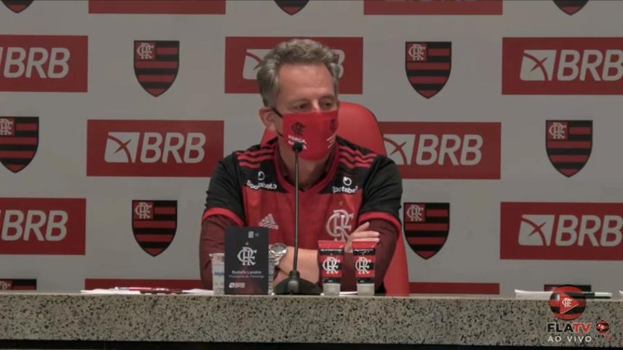 Rodolfo Landim concede entrevista coletiva virtual para anunciar parceria do Flamengo com o banco BRB - Reprodução / Fla TV