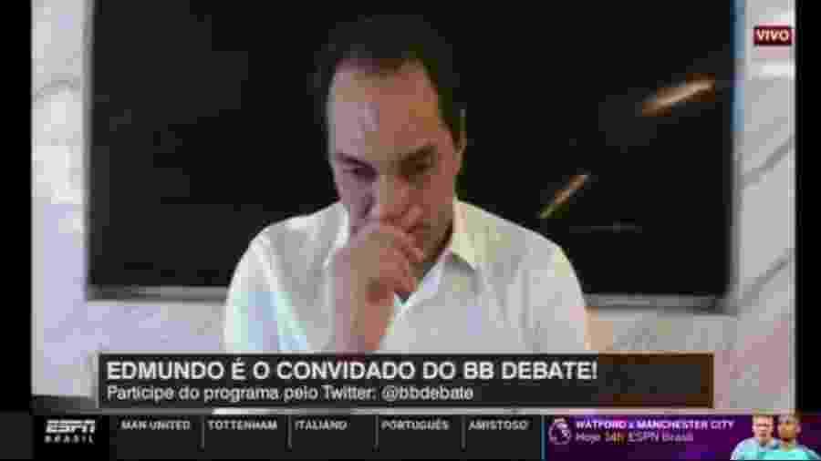 Edmundo se emociona ao recordar acidente - Reprodução/ESPN