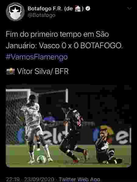 """Perfil oficial do Botafogo comete gafe e publica """"Vamos Flamengo"""" - Reprodução"""