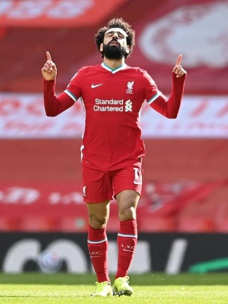 Mohamed Salah, autor do primeiro gol do Liverpool na vitória sobre o Aston Villa, por 2 a 1 - Laurence Griffiths/Getty Images