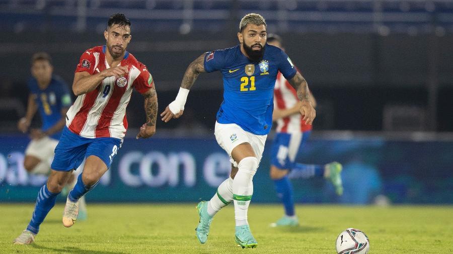 Gabigol durante partida da seleção brasileira contra o Paraguai: ele atuou durante 13 minutos - Lucas Figueiredo/CBF