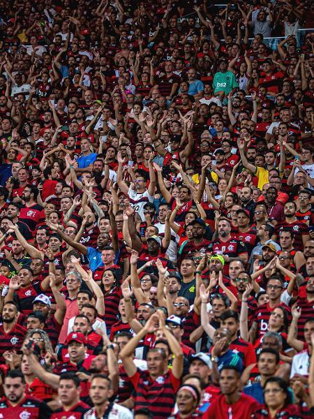 Torcida do Flamengo no jogo contra o Barcelona-EQU, no Maracanã, em 2020 - Alexandre Vidal/Flamengo
