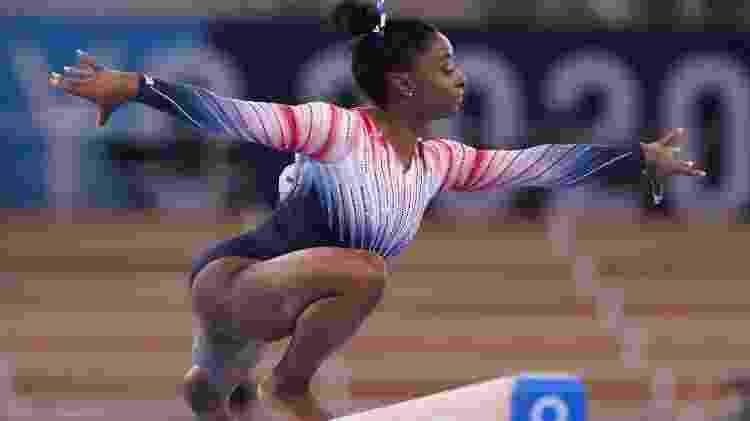 Simone Biles voltou a competir na final da trave nas Olimpíadas de Tóquio - Elsa/Getty Images - Elsa/Getty Images