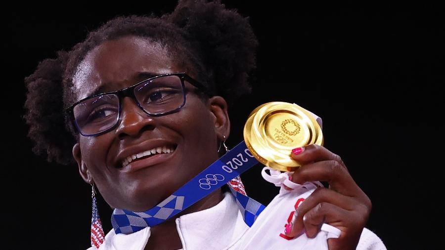 Tamyra Marianna Mensah Stock é a primeira campeã olímpica negra da luta livre - LEAH MILLIS/REUTERS