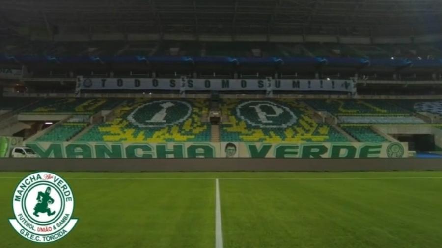 Torcida organizada Mancha Verde mostra mosaico de jogo contra Atlético-MG - Reprodução/Instagram