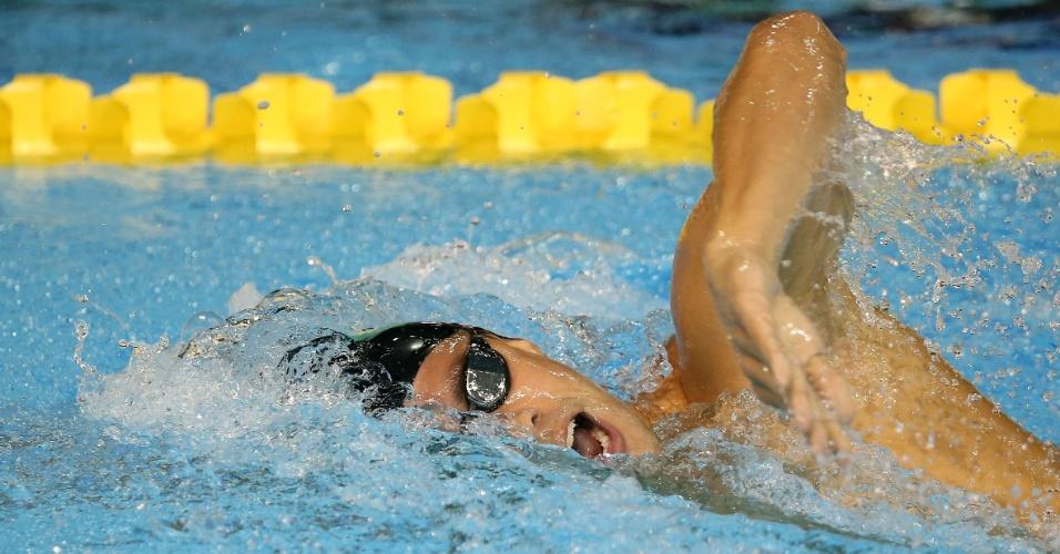 Thiago Pereira na água durante a bateria eliminatória dos 200m medley