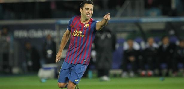 Xavi em ação pelo Barcelona, em 2011