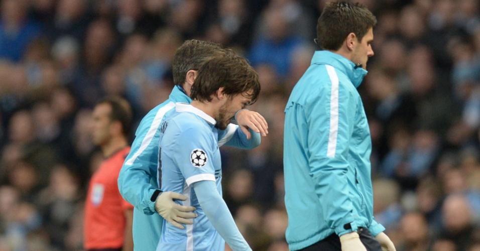 David Silva sai machucado da partida entre Manchester City e Real Madrid pela Liga dos Campeões