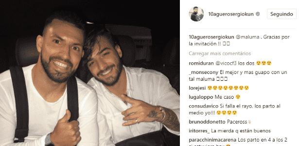 Agüero publicou foto com Maluma; acidente aconteceu depois do show - Reprodução/Instagram