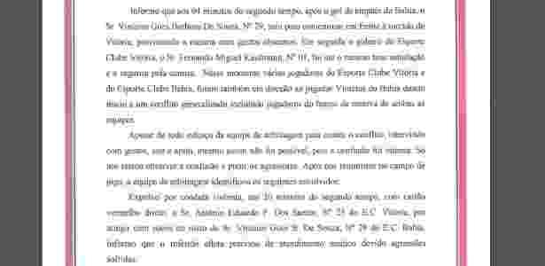 Súmula Vitória x Bahia 3 - Reprodução/Site oficial da FBF - Reprodução/Site oficial da FBF