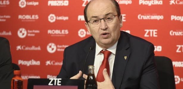 Grupo de presidente José Castro (foto) acena com venda de ações para grupo misterioso dos EUA; já grupo de José María del Nildo é um dos que se opõem - Sevilla FC/Divulgação