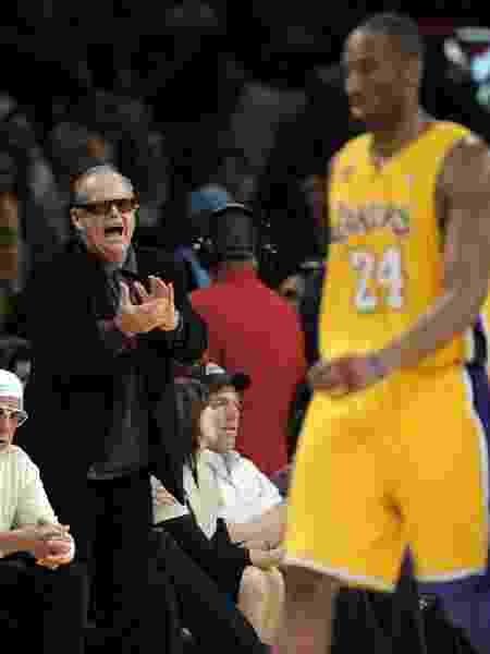 Jack Nicholson e Kobe Bryant, durante partida do Los Angeles Lakers, em 2008 - Photo/Mark J. Terrill