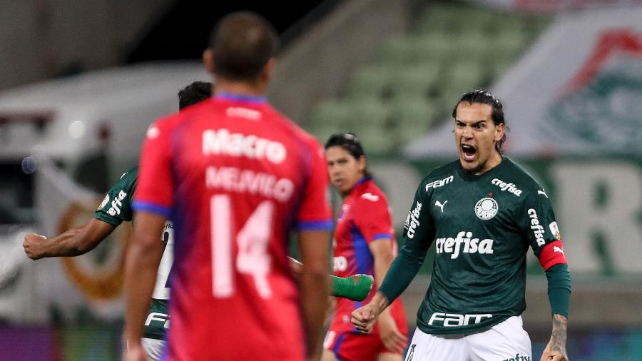 Gustavo Gómez celebra gol do Palmeiras contra o Tigre, pela Libertadores - Mauro Horita/Conmebol