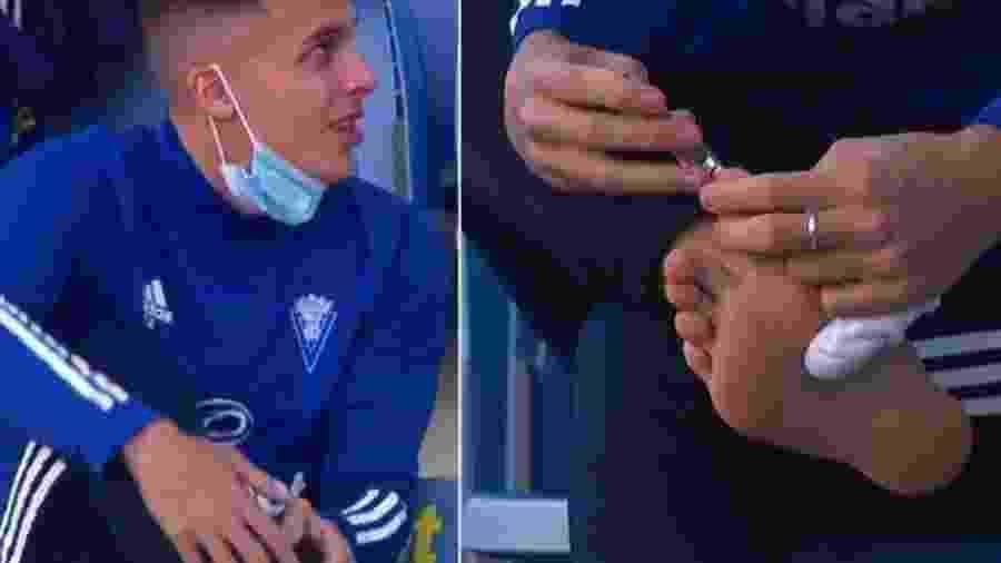 Iván Alejo, reserva do Cádiz, não ficou 100% focado na partida de seu time contra o Villareal - Reprodução/Twitter