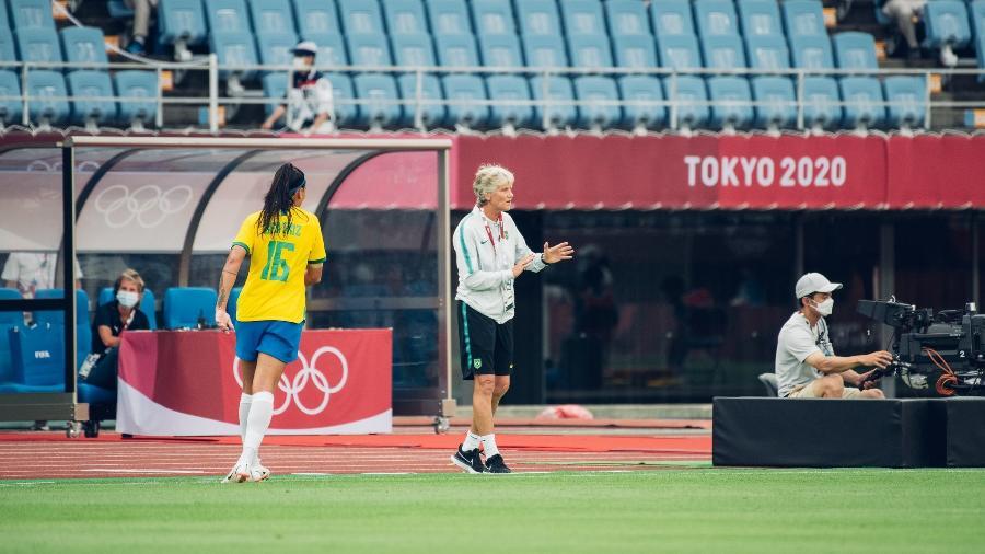 Pia Sundhage durante partida da seleção brasileira contra a China pelas Olimpíadas - Sam Robles/CBF