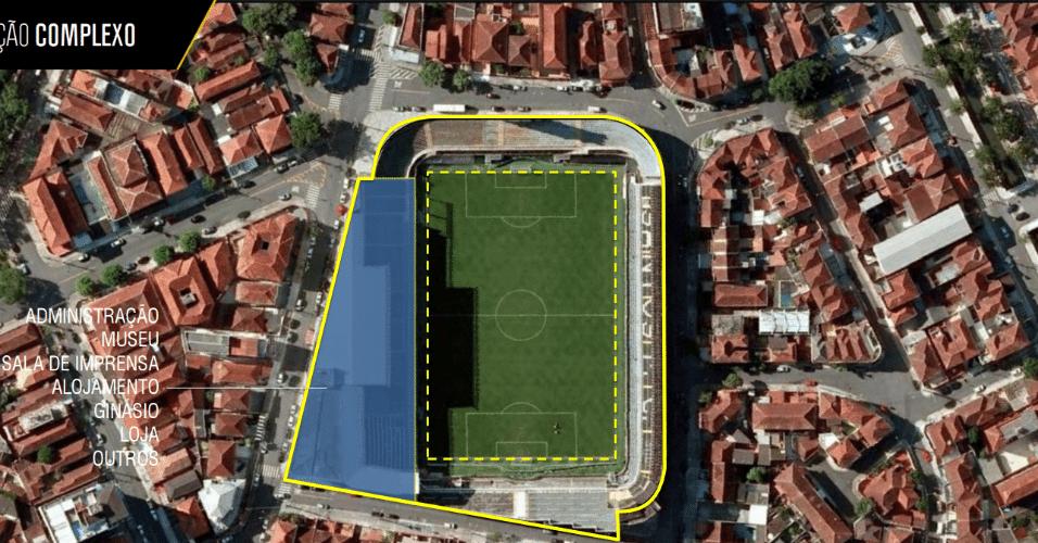 Arena Santos, no projeto, será um complexo multiuso com museu e lojas