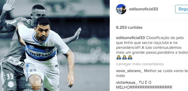 Instagram de Edílson registrando ameaças de torcedores do Internacional
